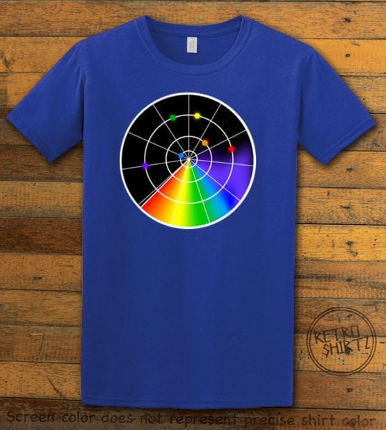 This is the main graphic design on a royal shirt for the Pride Shirts: Gaydar