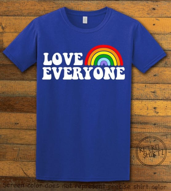This is the main graphic design on a royal shirt for the Pride Shirts: Love Everyone