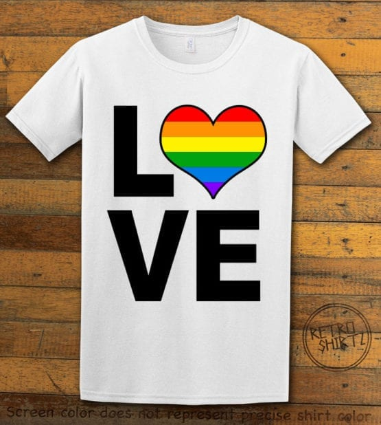 This is the main graphic design on a white shirt for the Pride Shirts: Love Heart Rainbow