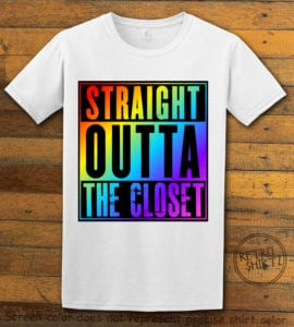 This is the main graphic design on a white shirt for the Pride Shirts: Straight Out of the Closet