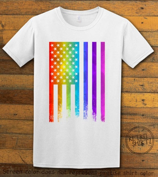 This is the main graphic design on a white shirt for the Pride Shirts: Pride Flag Distressed