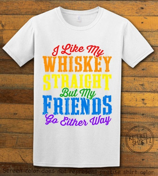 This is the main graphic design on a white shirt for the Pride Shirts: Whiskey Gay Pride
