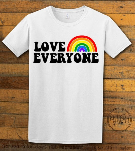 This is the main graphic design on a white shirt for the Pride Shirts: Love Everyone