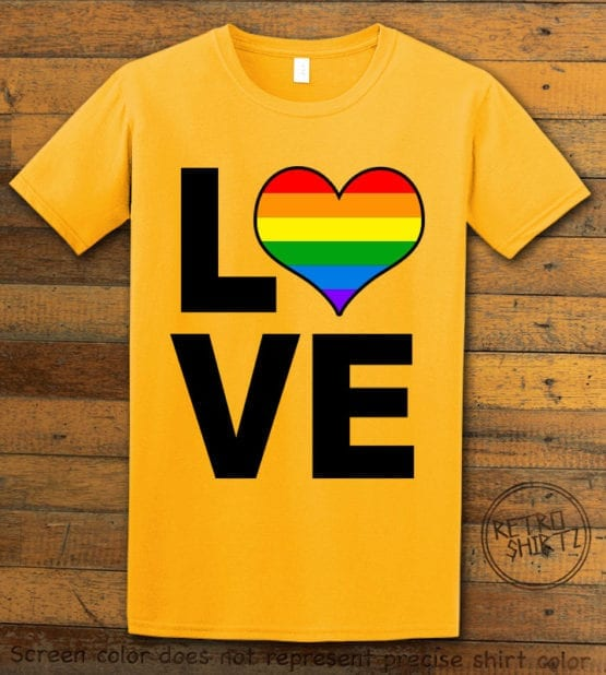 This is the main graphic design on a yellow shirt for the Pride Shirts: Love Heart Rainbow