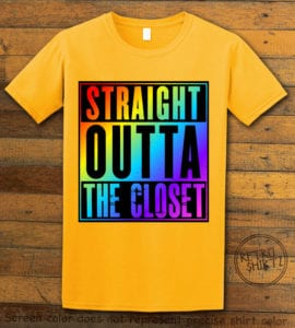 This is the main graphic design on a yellow shirt for the Pride Shirts: Straight Out of the Closet