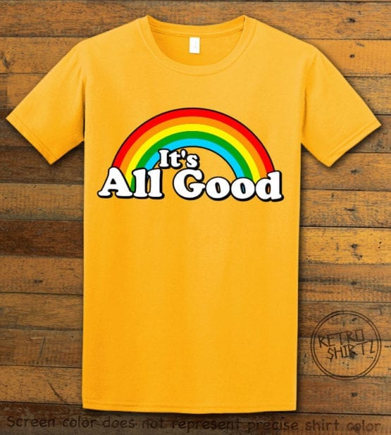 This is the main graphic design on a yellow shirt for the Pride Shirts: Good Rainbow