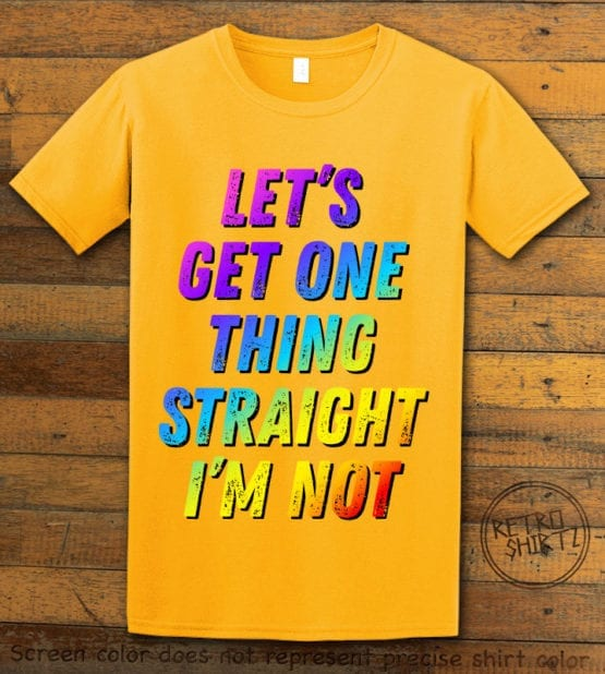 This is the main graphic design on a yellow shirt for the Pride Shirts: Not Straight
