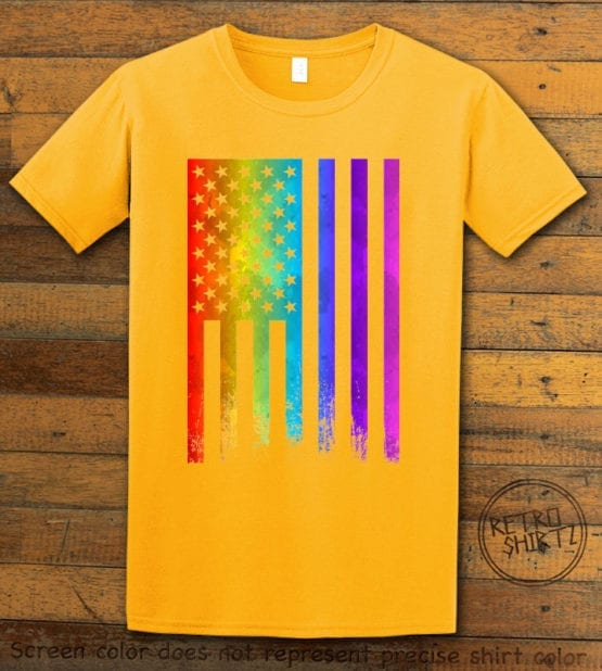 This is the main graphic design on a yellow shirt for the Pride Shirts: Pride Flag Distressed