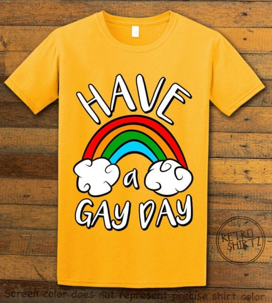 This is the main graphic design on a yellow shirt for the Pride Shirts: Have a Gay Day