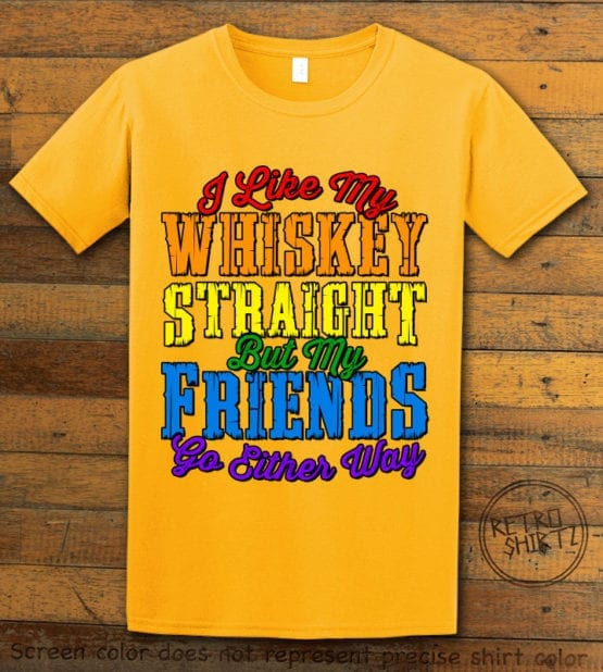 This is the main graphic design on a yellow shirt for the Pride Shirts: Whiskey Gay Pride