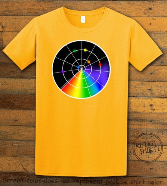 This is the main graphic design on a yellow shirt for the Pride Shirts: Gaydar