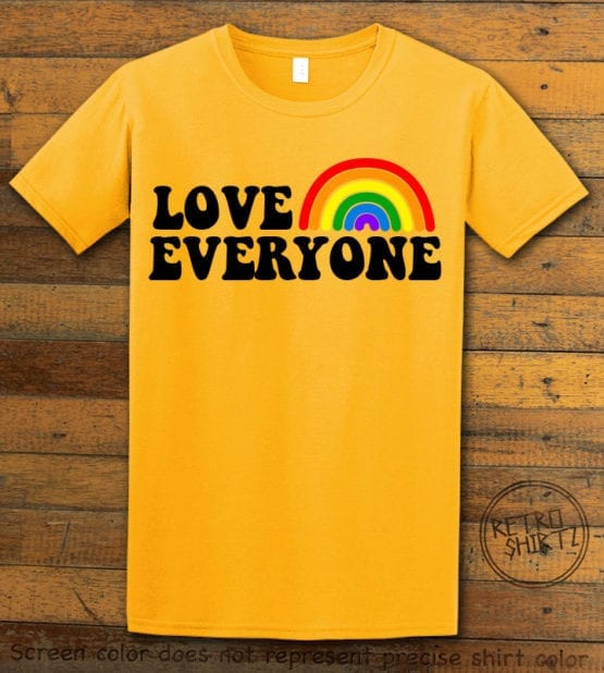 This is the main graphic design on a yellow shirt for the Pride Shirts: Love Everyone